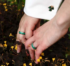 Our titanium wedding rings with the acrylic inlay of malachite.