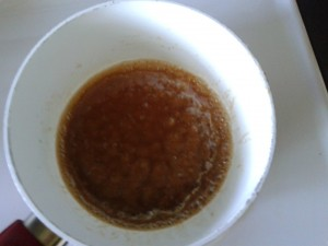 My caramel sauce starting to boil.