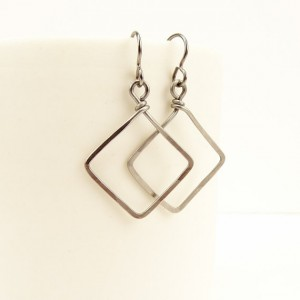 Niobium Square Earrings, Hammered Niobium Squares Dangle from Hypoallergenic Earrings for Sensitive Ears, Nickel Free Silver-color Niobium