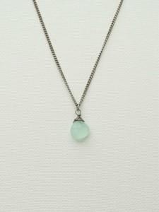 Titanium Necklace with Blue Green Chalcedony, Niobium Wire Wrapped Pale Aqua Gemstone Nickel Free for Sensitive Skin, Hypoallergenic Jewelry