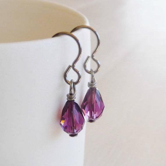 Nickel Free Earrings With Amethyst Crystal Drop Hypo Allergenic Niobium Earwires Purple Swarovski Teardrop