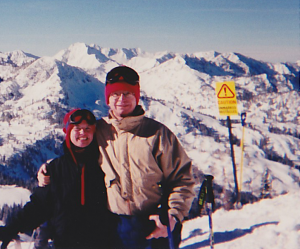 My father & I skiing on amazing Utah snow at Solitude Ski Resort.