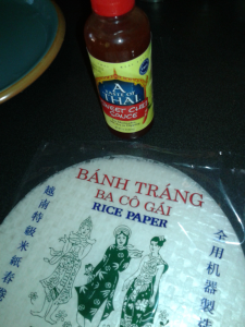 Type of nickel free rice paper and sweet chili sauce I use.