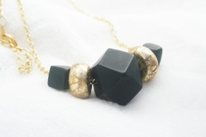 Nickel-free Black and Gold Geo Necklace Photo courtesy of My Skin Story