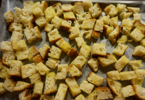 Baked homemade & nickel-free croutons or panzanella
