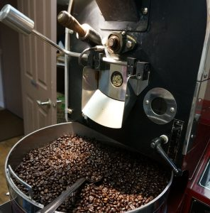 Watching the coffee roasting process at Buckin Bean, a local Pendleton, Oregon coffee shop.